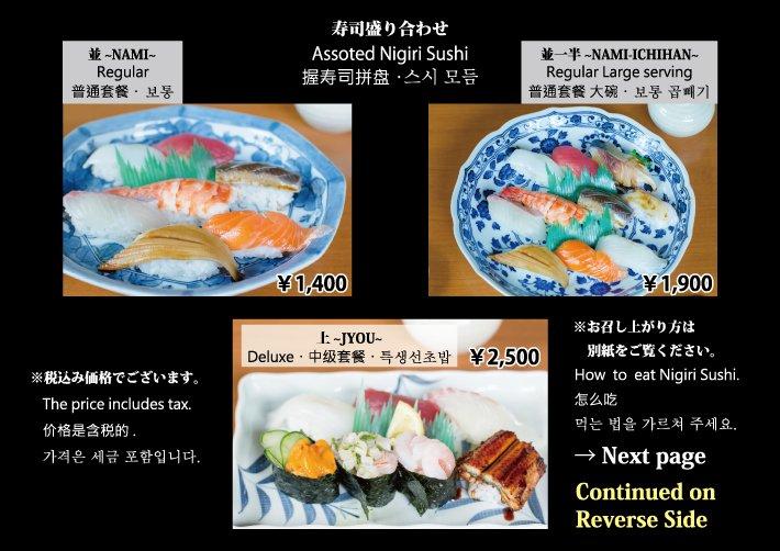 しんや寿司 外国人用メニュー 寿司盛り合わせ 裏面