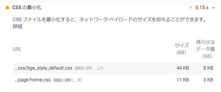 ページスピードインサイトでCSSの最小化